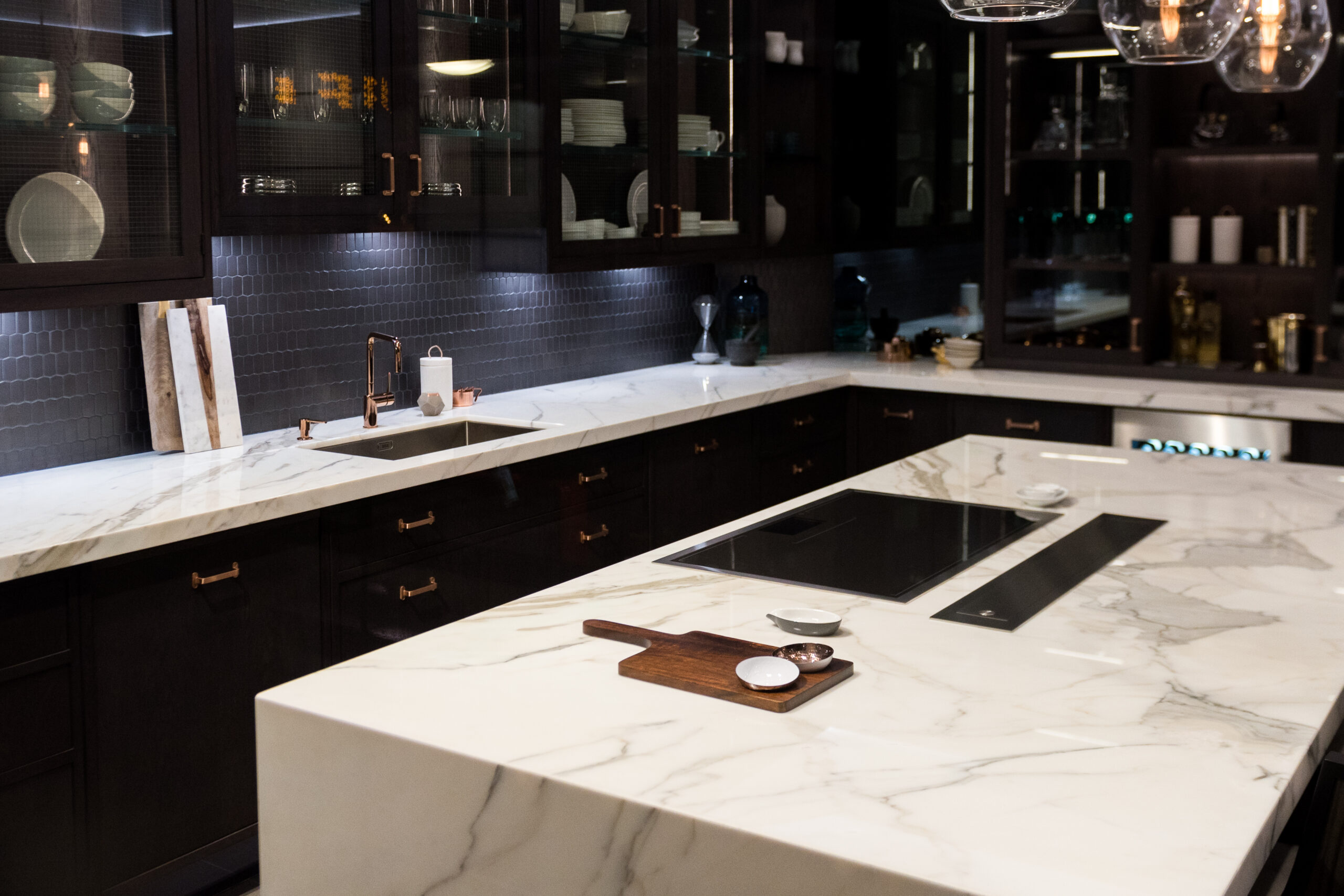 Bespoke High Quality Kitchen with Large Marble Counter Top.